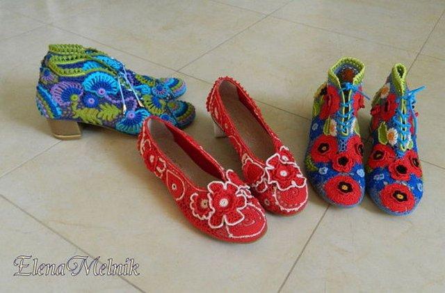 вязаная обувь крючком