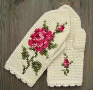 рукавички крючком