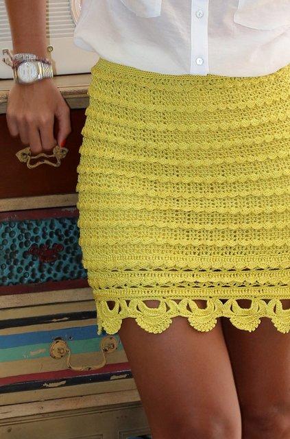 юбка крючком Алзиры Виейра