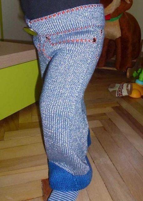 Вязаные спицами джинсы для детей + выкройка | razpetelka.ru