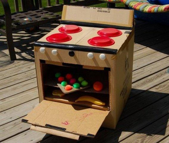 Как из коробки сделать плиту для кукол своими руками