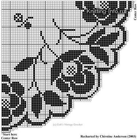 филейное вязание розы