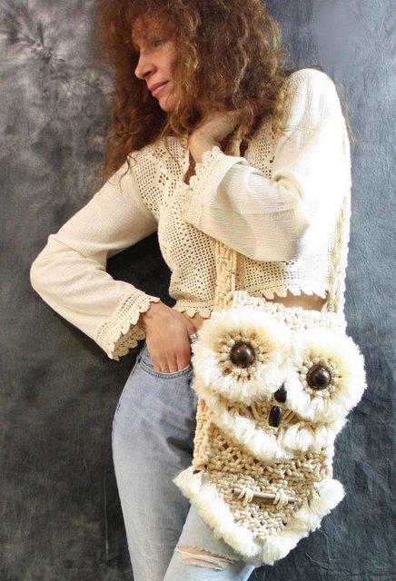 вязаная сумкам сова