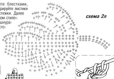 листик для розы крючком схема для изготовления