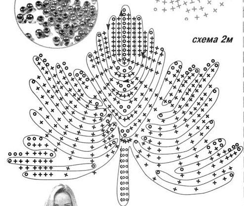 схема вязаный крючком листик
