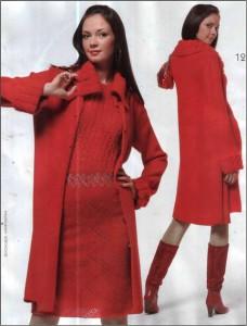 красное вязаное платье