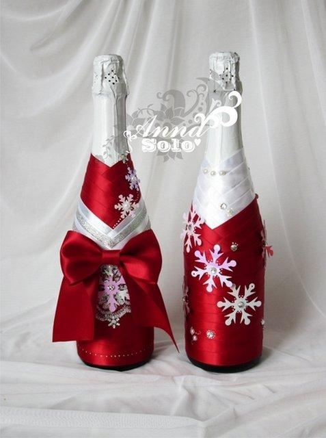 Украшение бутылок к новому году своими руками фото