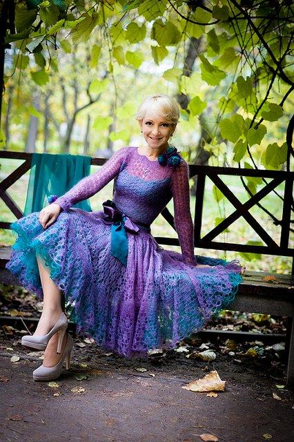 Платье спицами из мохера схема