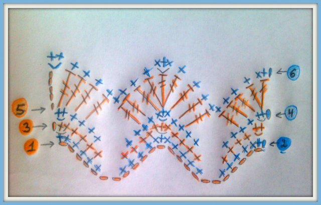двухцветный узор крючком схема