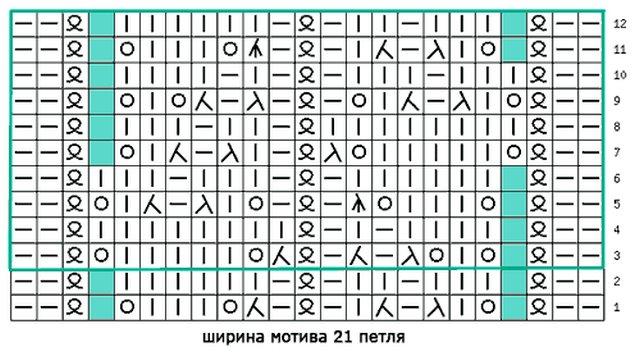 узор спицами листиками схема