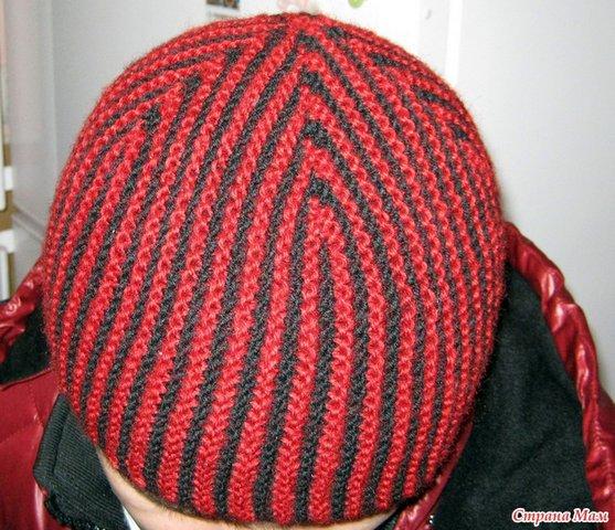 шапка в полоску спицами