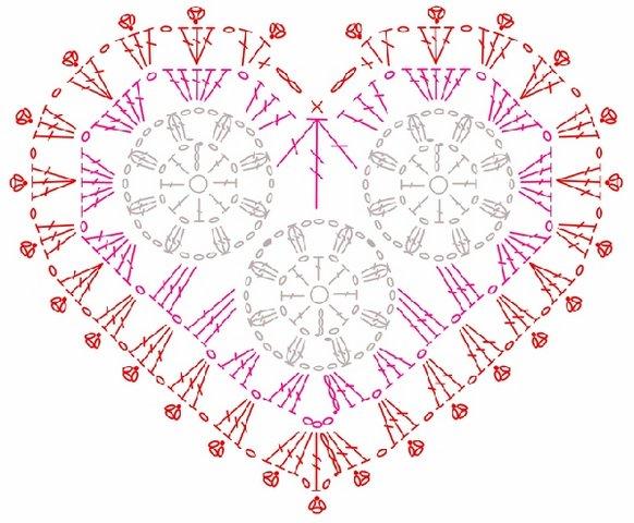 вязаное сердце крючком