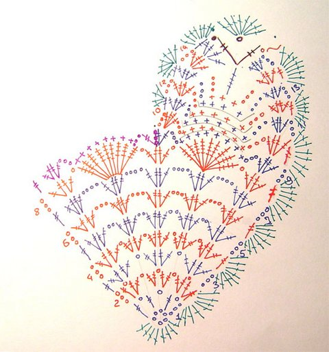 вязаное сердце крючком схема вязания