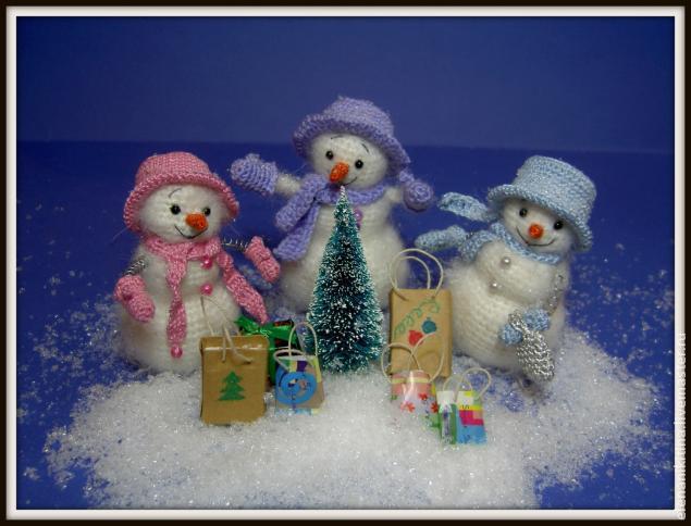 вязаные снеговики