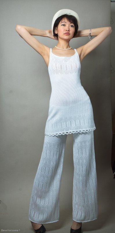 брючный костюм вязаный