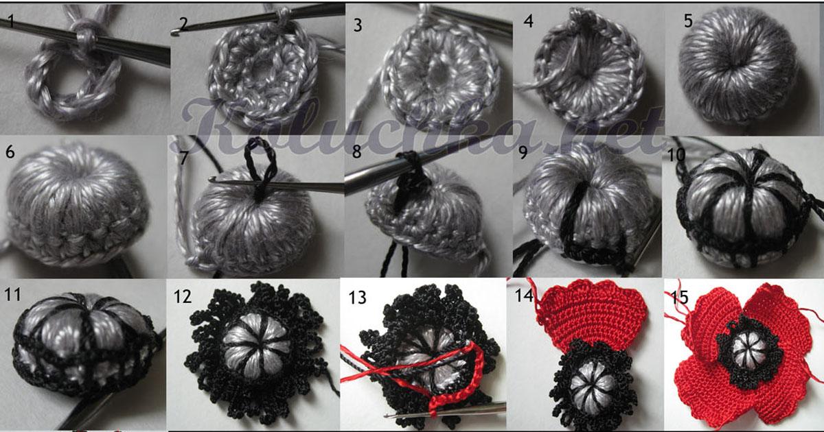 вязание крючком цветы маки
