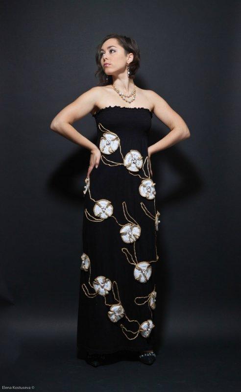 вечернее вязаное платье
