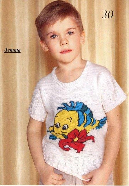 летняя вязаная кофточка для мальчика