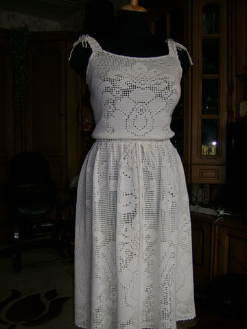 филейное вязание платье