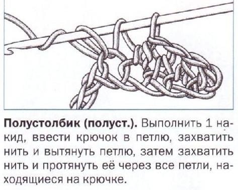 Описание полустолбика вязания крючком