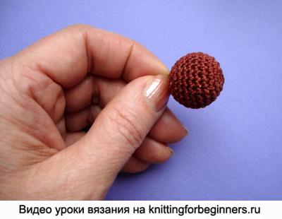 Как связать крючком маленькие шарики