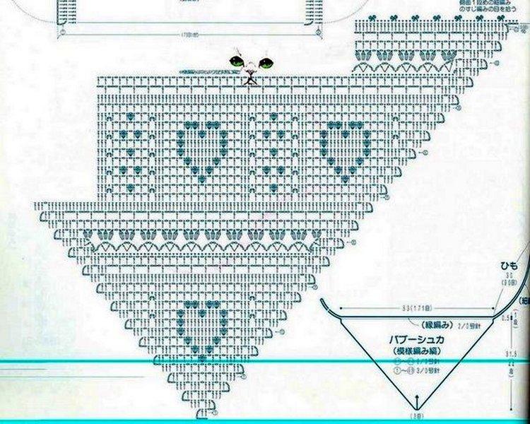 косынка филейное вязание схема