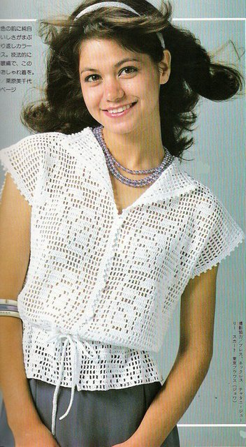 Филейное вязание для кофточки