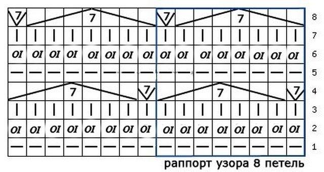 Вязание спицами узор чешуйки 34