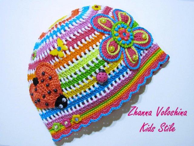 Вязаные летние шапочки всех цветов радуги от Жанны Волошиной