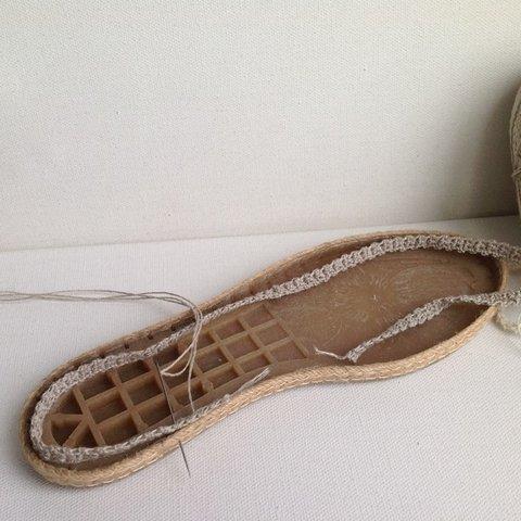 вязаная обувь подошва шнур крючком