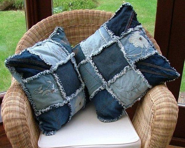 джинсовые подушки