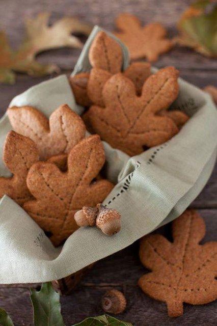 осенние листья печенье