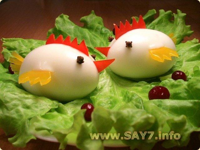 Украшение блюд: фаршированные яйца цыплята