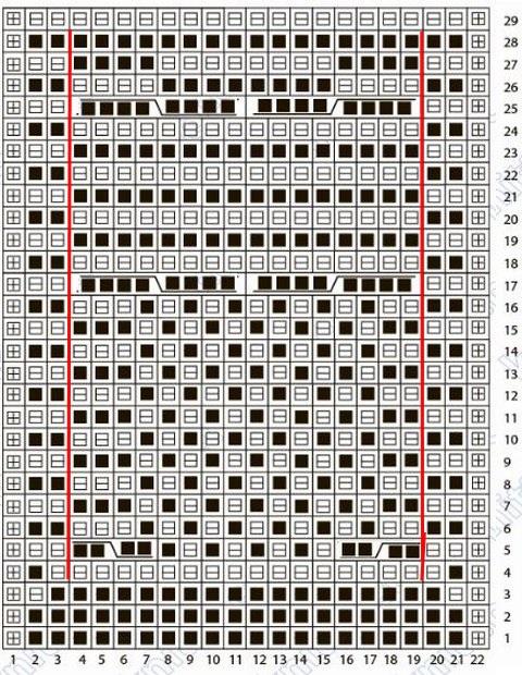 узор сова спицами схема