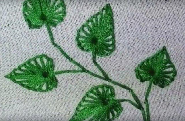 вышивка листики