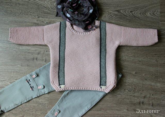 вязаный пуловер с подтяжками