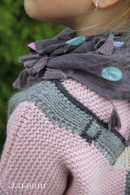 вязаный пуловер с подтяжками схема