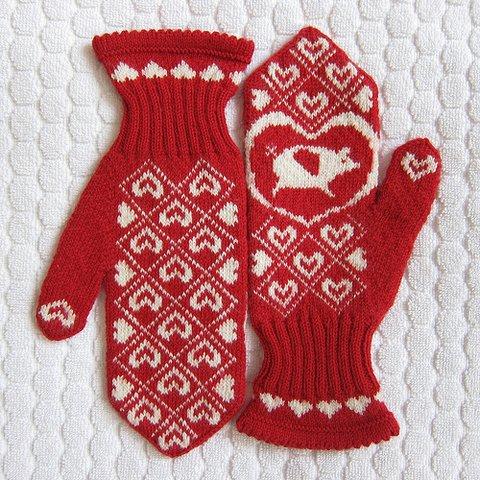 рукавички жаккард спицами