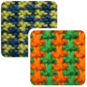 Красивые и простые цветные узоры спицами с описанием: двухцветные лапки и твид