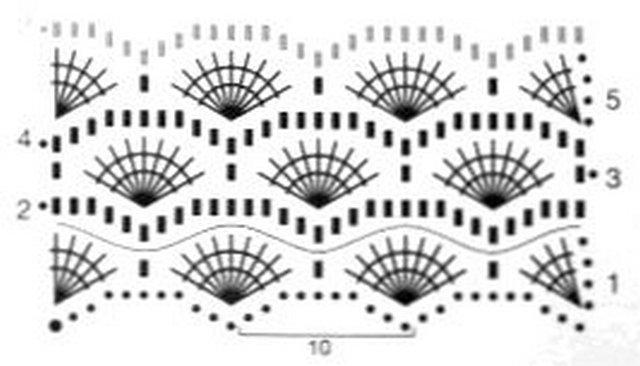 узор крючком веерочки схема