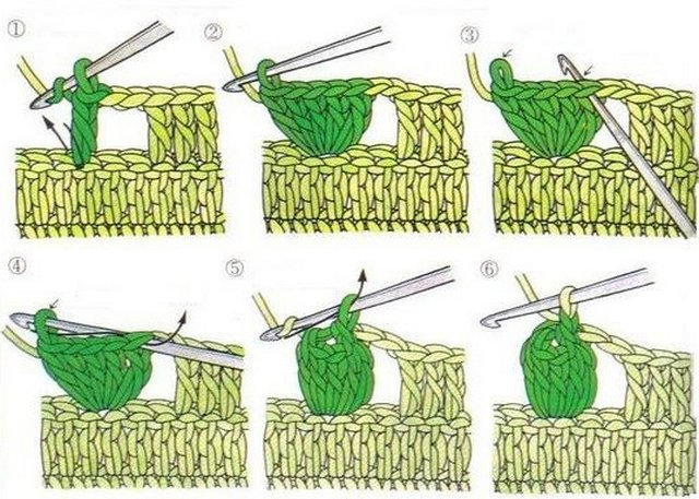 Вязание крючком элемента попкорн 56