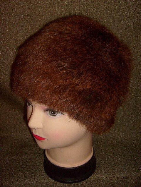вязаная меховая шапка