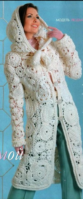 белое вязаное крючком пальто Razpetelkaru