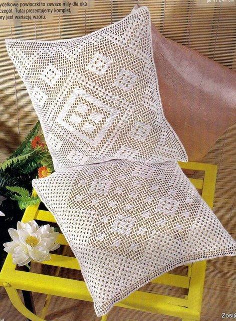 вязаные подушки филейное вязание схемы Razpetelkaru
