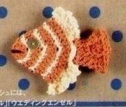 аппликация крючком рыбка