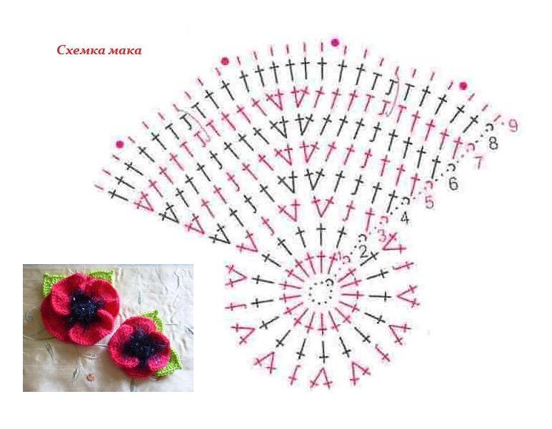 вязание крючком цветы маки схема Razpetelkaru
