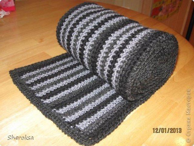 вязаный шарф крючком мужской описание Razpetelkaru